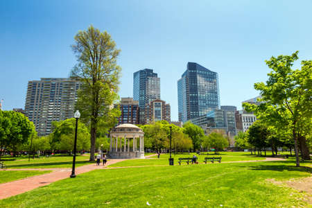 boston cityscape: Boston Public Garden in Massachusetts - USA. Stock Photo