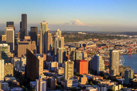 Seattle skyline panorama at sunset as seen from Space Needle Tower, Seattle, WA