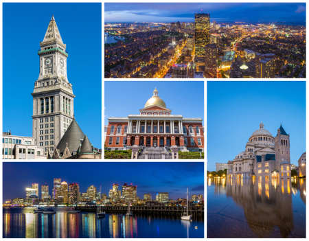 boston tea party: Boston MA famous landmarks picture collage