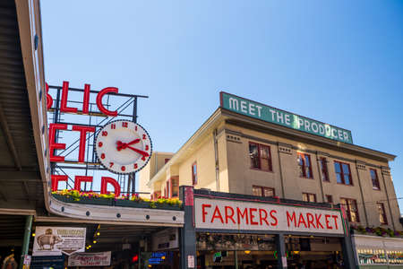 SEATTLE - JULY 5: The Public Market Center also known worldwide as Pike Place Market in Seattle, Washington on July 5, 2014.