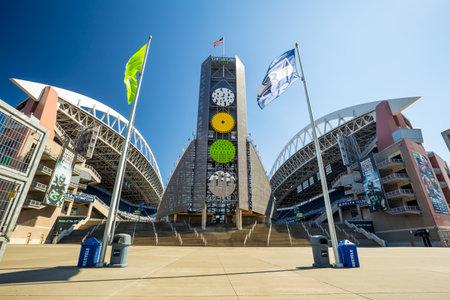 seahawks: SEATTLE - 05 de julio: CenturyLink Field, Seattle el 5 de julio de 2012. Originalmente fue llamado Estadio Seahawks, pero ha sido renombrado como Qwest Field el 23 junio, 2004