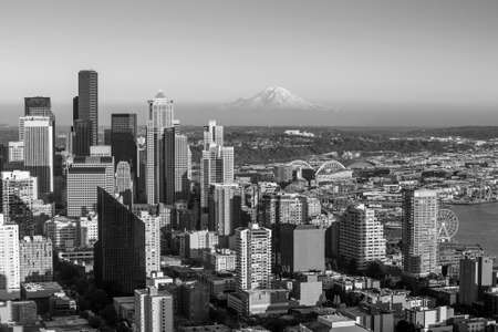 Seattle skyline panorama at sunset as seen from Space Needle Tower, Seattle, WA in black and white photo