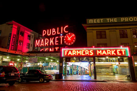 SEATTLE - JULY 5: The Public Market Center also known worldwide as Pike Place Market at night in Seattle, Washington on July 5, 2014. Editorial