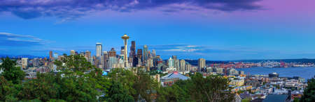 Seattle skyline panorama at sunset as seen from Kerry Park, Seattle, WA photo
