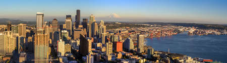 puget sound: Seattle skyline panorama at sunset as seen from Space Needle Tower, Seattle, WA Stock Photo