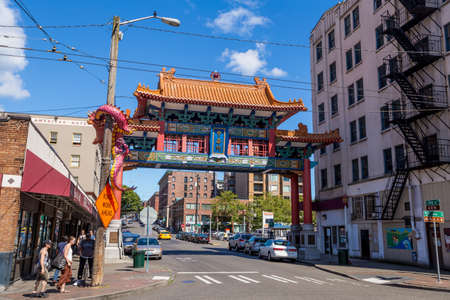 SEATTLE - JULY 5: Chinatown Seattle on July 5, 2014. The neighborhood encompasses the blocks east of Fifth Avenue S in downtown Seattle WA, USA