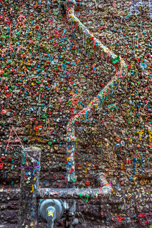 SEATTLE- JULY 5 : The Market Theater Gum Wall in downtown Seattle on July 5, 2014. It is a local landmark in downtown Seattle, in Post Alley under Pike Place Market.