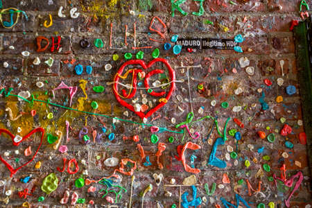 pike place market: SEATTLE- JULY 5 : The Market Theater Gum Wall in downtown Seattle on July 5, 2014. It is a local landmark in downtown Seattle, in Post Alley under Pike Place Market.  Editorial