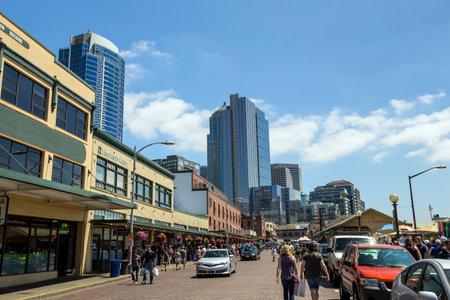 SEATTLE - JULY 5: The Public Market Center also known worldwide as Pike Place Market in Seattle, Washington on July 5, 2014.