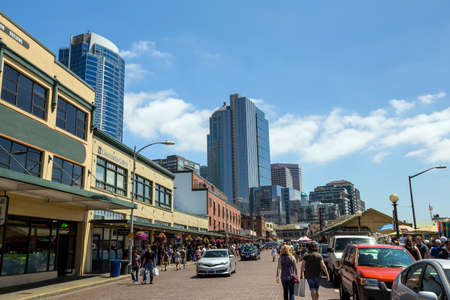 pike place: SEATTLE - JULY 5: The Public Market Center also known worldwide as Pike Place Market in Seattle, Washington on July 5, 2014.