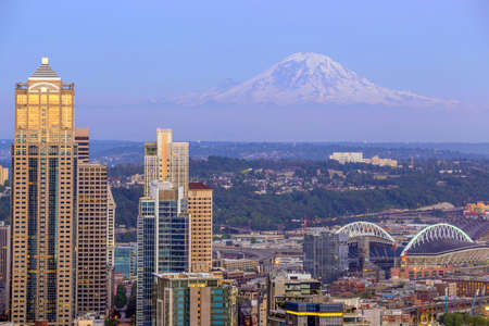 Seattle skyline panorama at sunset as seen from Space Needle Tower, Seattle, WA photo