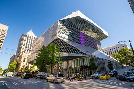 SEATTLE - JULY 5:  Public Library in Seattle on July 5, 2014. The Seattle Central Library opened in 2004 and was designed by Rem Koolhaas and Joshua Prince-Ramus.