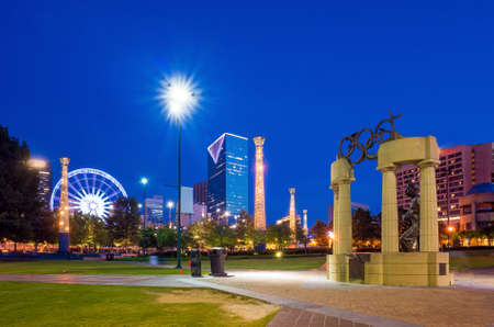 Centennial Olympic Park in Atlanta during twilight hour after sunset