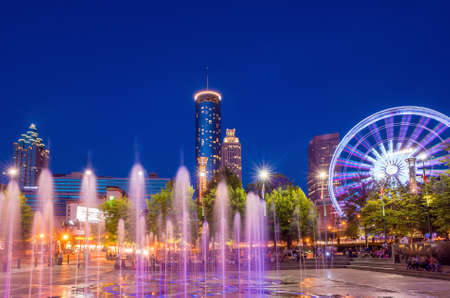 and scape: Centennial Olympic Park in Atlanta during twilight hour after sunset