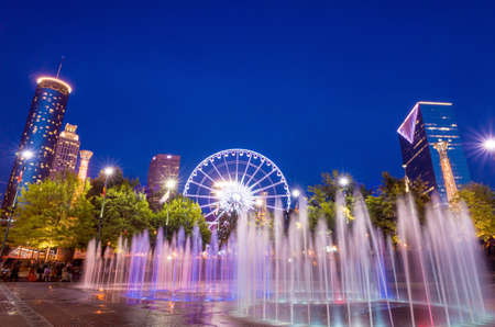 atl: Centennial Olympic Park in Atlanta during twilight hour after sunset