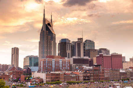 Nashville, Tennessee downtown skyline at twilight Editorial