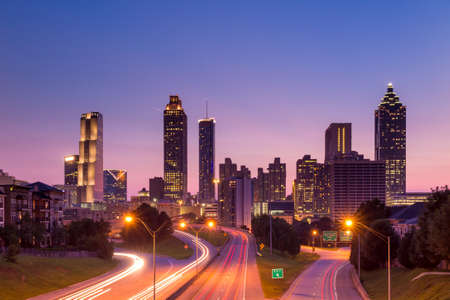 Image of the Atlanta skyline during twilight