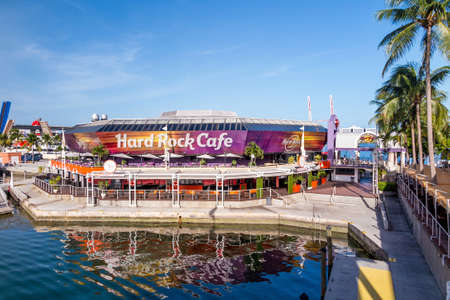 hard rock cafe: MIAMI, FL - August 11: Hard Rock Cafe on August 7, 2014 in Miami, Florida. It is located at 401 Biscayne Blvd. R-200 in Bayside Marketplace