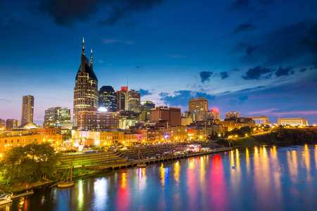 Nashville, Tennessee downtown skyline at twilight Stock Photo