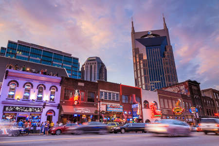 NASHVILLE - AUGUST 1: Downtown Nashville cityscape in the evening on August 1, 2014 in Nashville, TN. Nashville is the capital of the State of Tennessee and the county seat of Davidson County. Editorial