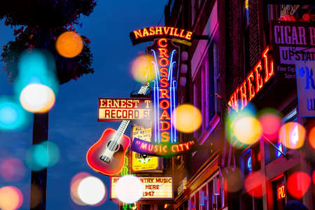 NASHVILLE - AUGUST 1: Neon signs on Lower Broadway Area on August 1, 2014 in Nashville, Tennessee, USA Stock Photo - 30709122