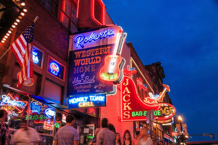 NASHVILLE - AUGUST 1: Neon signs on Lower Broadway Area on August 1, 2014 in Nashville, Tennessee, USA
