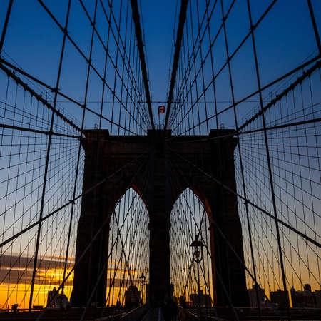 manhattan bridge: tower of Brooklyn bridge New York city at sunset Stock Photo