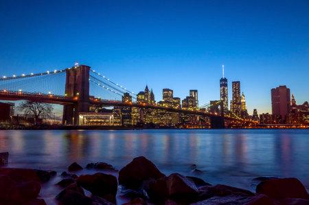 Beautiful shot of Brooklyn Bridge at twilight