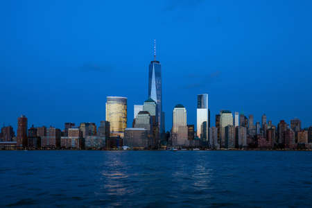 Manhattan Skyline from Jersey at twilight, New York City photo