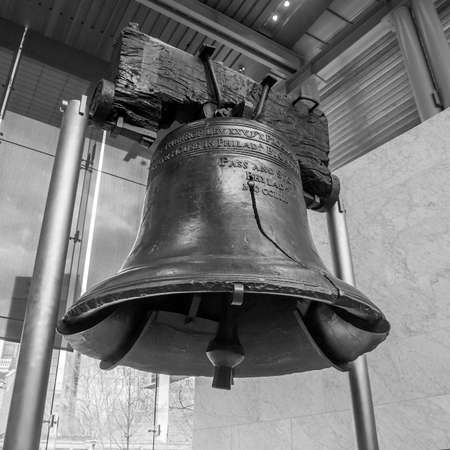 liberty bell: Liberty Bell  old symbol of American freedom  in Independence Mall building in Philadelphia Pennsylvania black and white