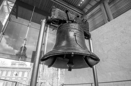 yoke: Liberty Bell  old symbol of American freedom  in Independence Mall building in Philadelphia Pennsylvania black and white