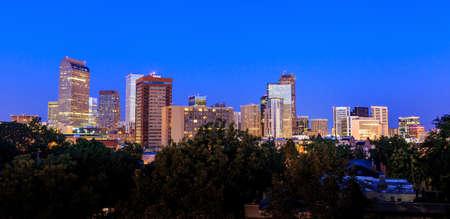 denver buildings: Denver skyline long exposure at twilight. Stock Photo