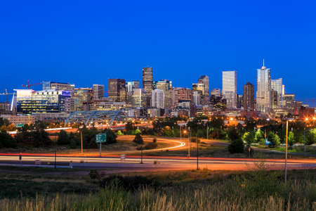 denver skyline: Panorama of Denver skyline long exposure at twilight.