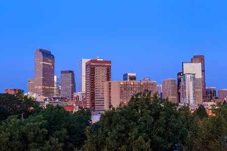 skyline of denver: Denver skyline long exposure at twilight. Stock Photo