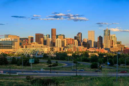 colorado skyline: Panorama of Denver skyline long exposure at twilight.