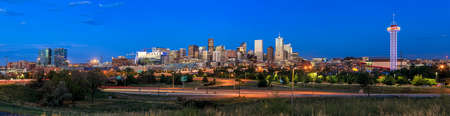 colorado rocky mountains: Panorama of Denver skyline long exposure at twilight.