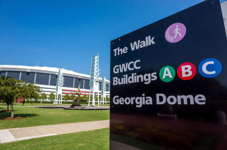 atl: ATLANTA, GEORGIA - August 4: The Georgia Dome in Downtown Atlanta is home to the Atlanta Falcons August 4, 2014 in Atlanta, Georgia. Editorial