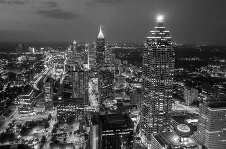 night skyline: Skyline of downtown Atlanta, Georgia, USA, black, white Stock Photo