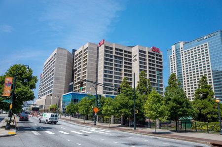 newsroom: ATLANTA - AUGUST 10: CNN Center in Atlanta on August 10, 2014. The CNN Center is the world headquarters of CNN.