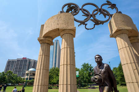coubertin: ATLANTA - August 5: Pierre de Coubertin commemorative statue at Centennial Olympic Park August 5, 2014 in Atlanta, GA. Coubertin is considered founder of the modern Olympic games. Editorial