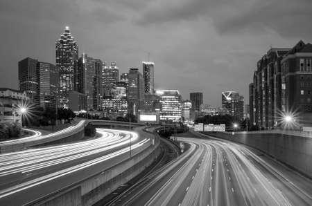 atl: Skyline of Downtown Atlanta, Georgia, USA , black, white