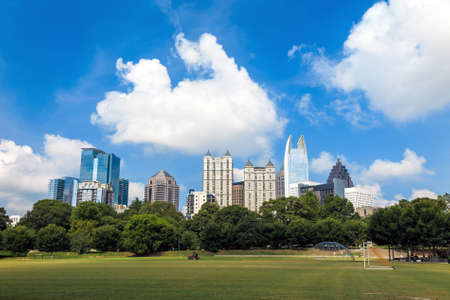 Skyline  of midtown Atlanta, Georgia  from Piedmont Park.