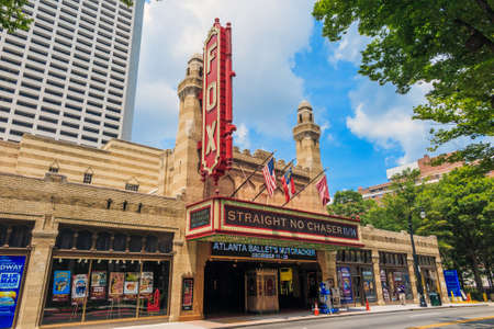 playhouse: ATLANTA - August 4: Fox Theatre August 4, 2014 in Atlanta, GA. Though once facing demolition, the theater was saved and is now a National Historic landmark which attracts roughly 750,000 people annually. Editorial