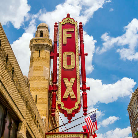 ga: ATLANTA - August 4: Fox Theatre August 4, 2014 in Atlanta, GA. Though once facing demolition, the theater was saved and is now a National Historic landmark which attracts roughly 750,000 people annually. Editorial
