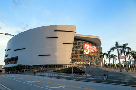 tourney: MIAMI - August 9 : American Airlines Arena in Miami as seen on August 9, 2014. It is home to National Basketball Association team - the Miami Heat. The arena has a maximum capacity of 19,600.