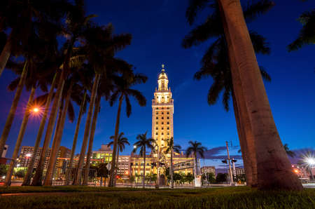 freedom tower: Freedom Tower at twilight in Miami, Florida Stock Photo