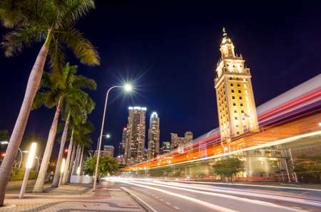 Freedom Tower at twilight in Miami, Florida Foto de archivo