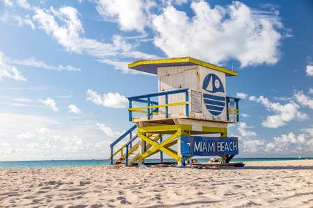 Colorful Lifeguard Tower in South Beach, Miami Beach, Florida photo