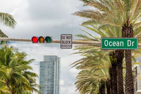 south beach: Street sign of famous street Ocean Drive in Miami South Beach