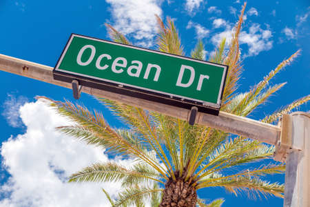 miami south beach: Street sign of famous street Ocean Drive in Miami South Beach